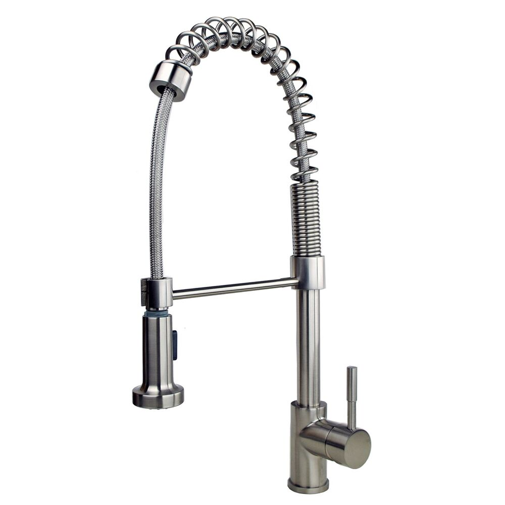 kitchen pull down faucet contemporary 21 quot pull down spray kitchen sink faucet stainless steel finish ebay 6649
