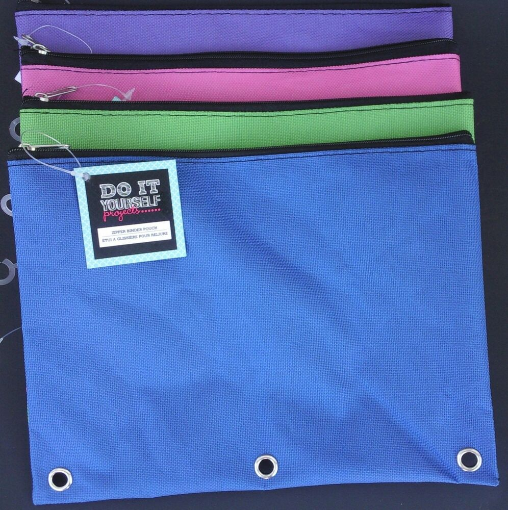 Zippered Canvas 3 Ring Binder Pouches 9 5 Quot X7 Quot 1 Pouch Pk