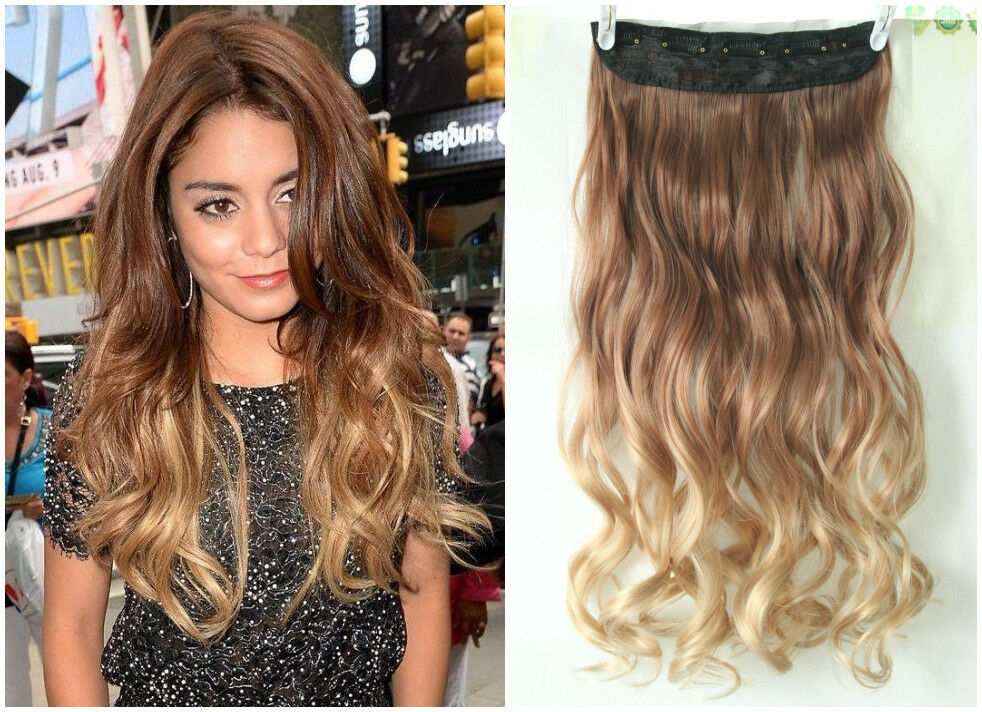 dip dye clip in on ombre hair extensions synthetic light brown blonde xmas gift ebay. Black Bedroom Furniture Sets. Home Design Ideas