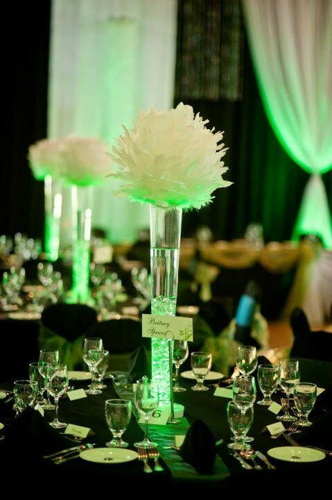 White large feather balls centerpieces ball wedding