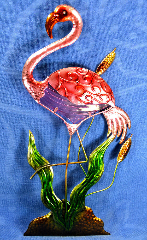 Flamingo Metal And Glass Wall Art Home Decor Hand Painted L Ebay