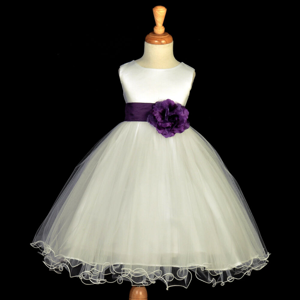 Ivory plum purple recital tulle gown flower girl dress 12 for Purple and ivory wedding dresses