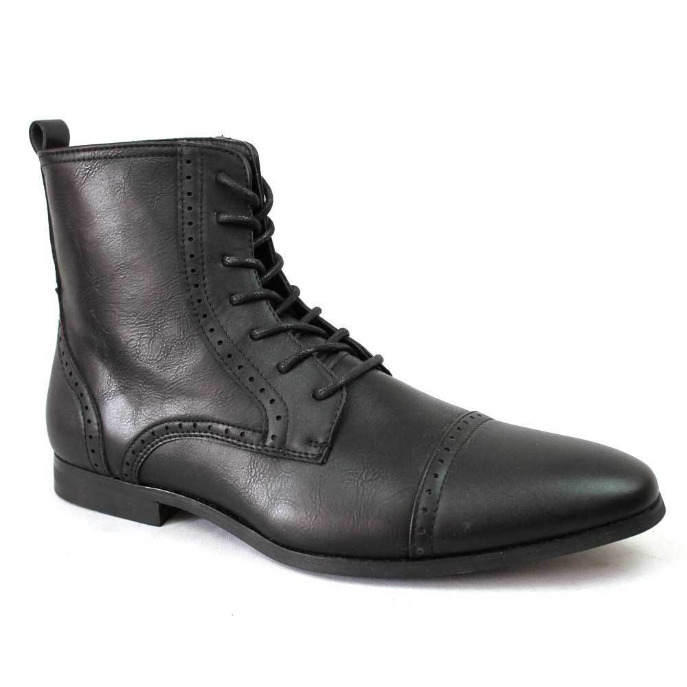 New Men's Black Dress Boots Cap Toe Lace Up Modern Leather ...