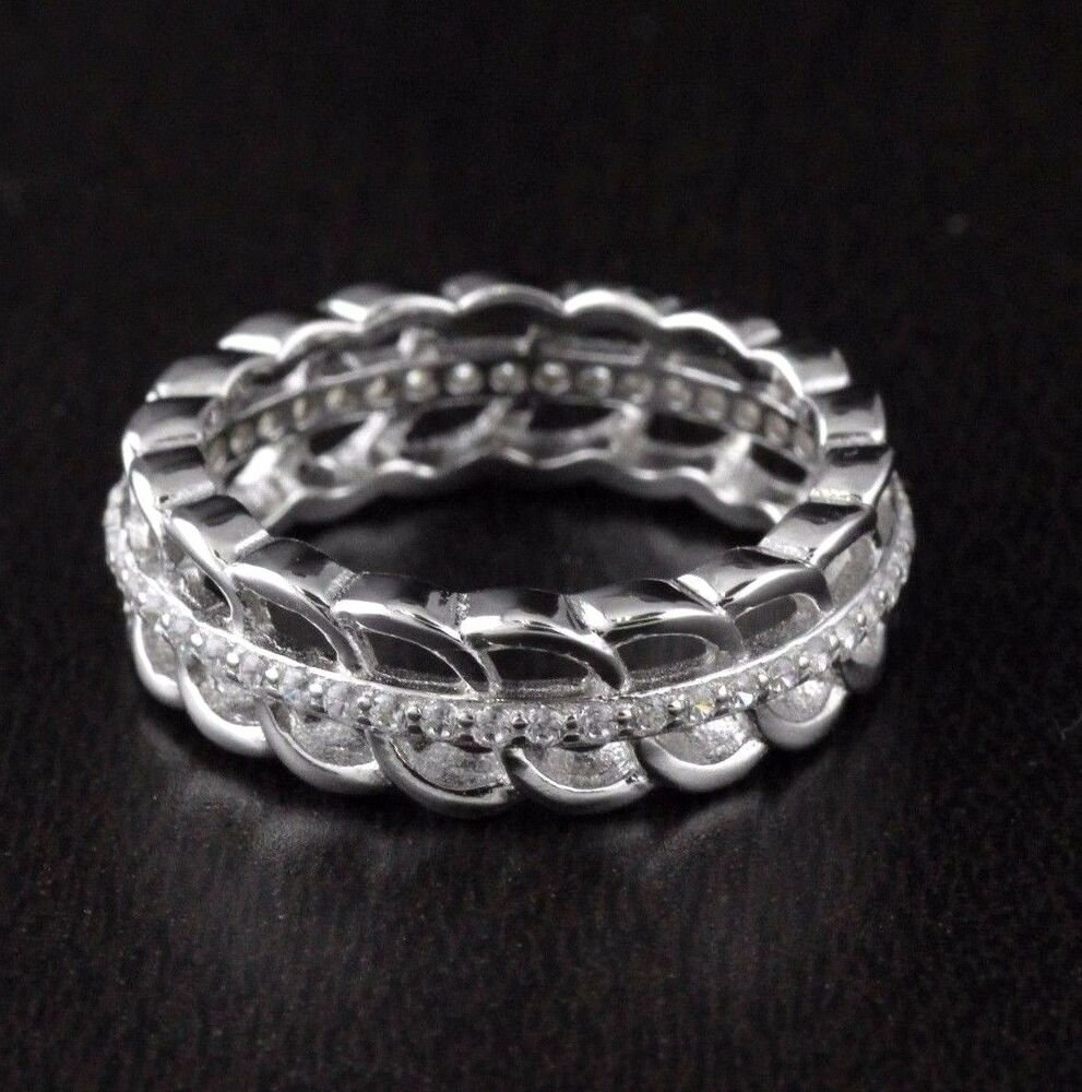 Filigree Ring Bands: Womens Solid 925 Sterling Silver CZ Micro Pave Filigree