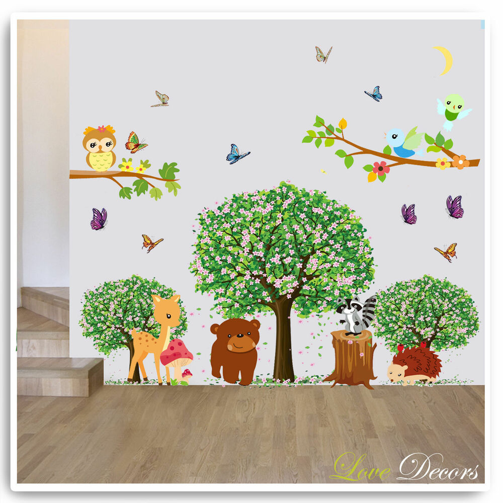 Animal owl wall stickers jungle zoo tree nursery baby kids for Baby jungle mural