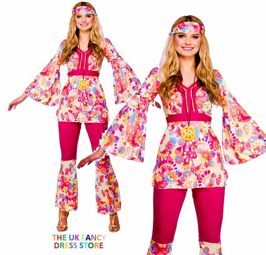 548d697159c Adult HIPPIE HONEY Peace Fancy Dress 1960 60s Hippy Costume UK Size ...