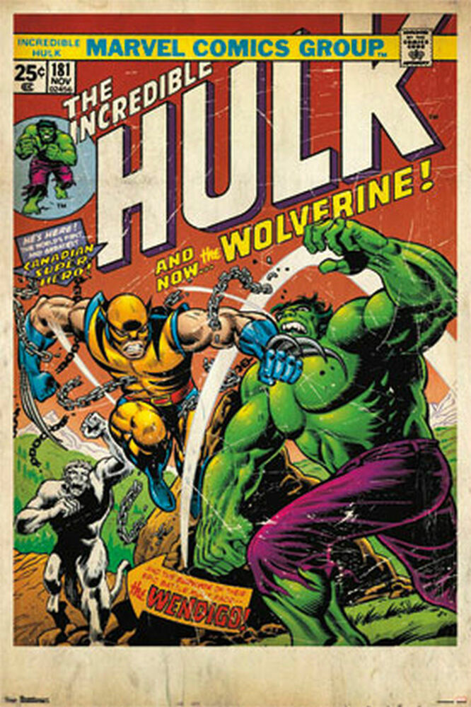 Classic Comic Book Cover Prints : Wolverine hulk comic book cover poster marvel