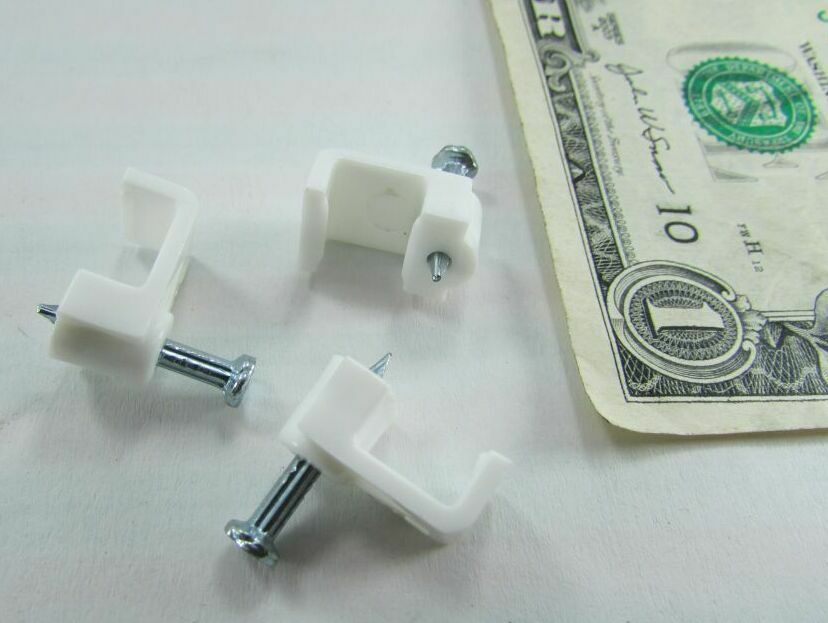 Lot 100 NSI Plastic Wire Holder Clips w/Nails, Cable ...