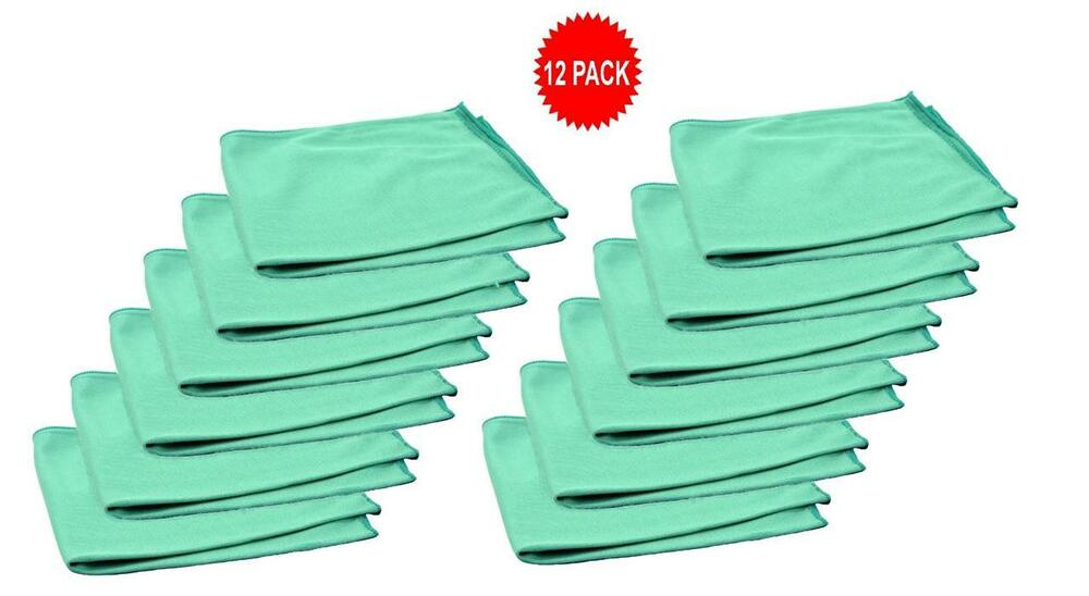 12pk real clean 16x16 microfiber green window glass towels for Glass cleaning towels
