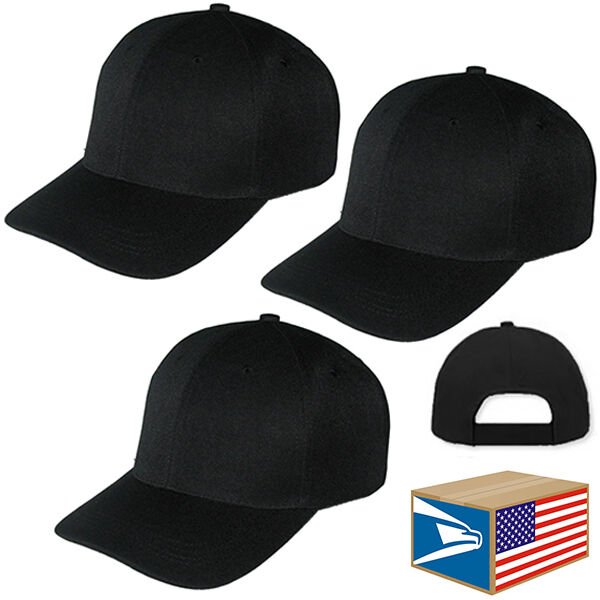 3 lot pro baseball cap solid black blank curved brim