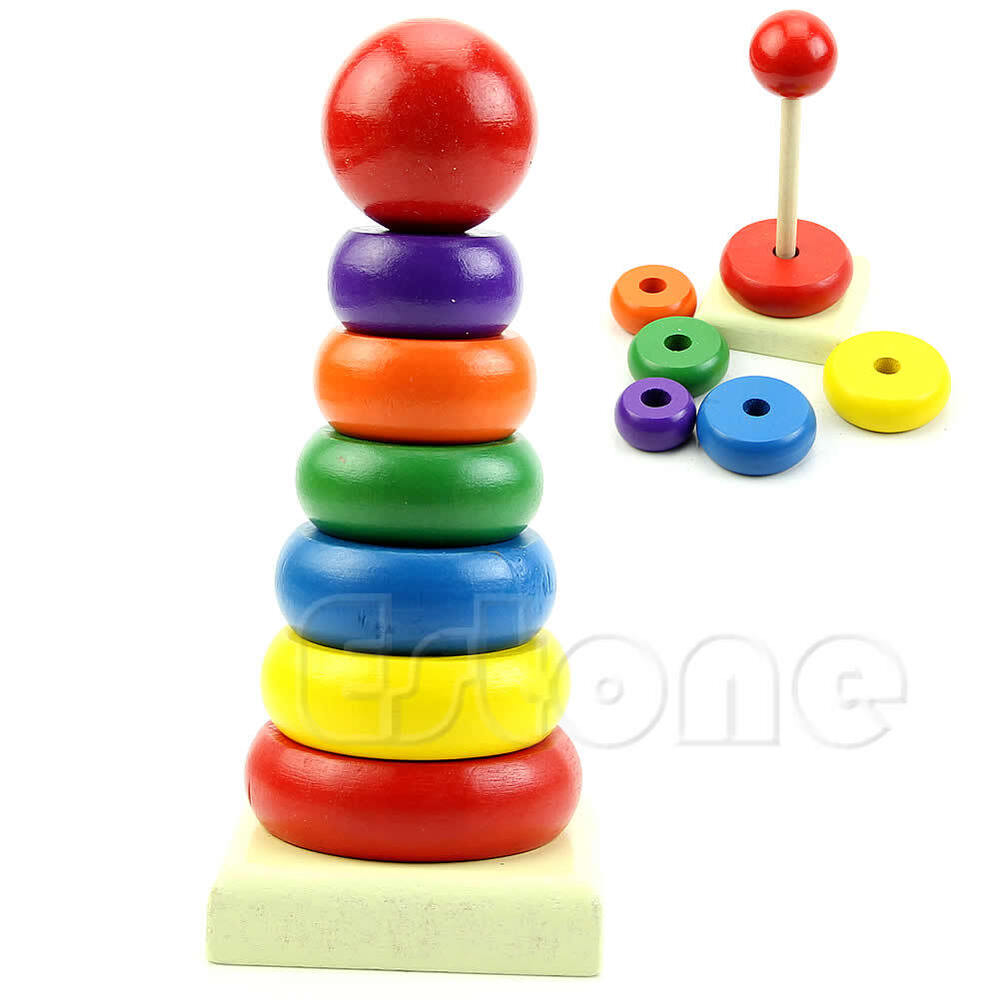 Kids Stacking Toys : Kids baby toy wooden stacking ring tower educational toys