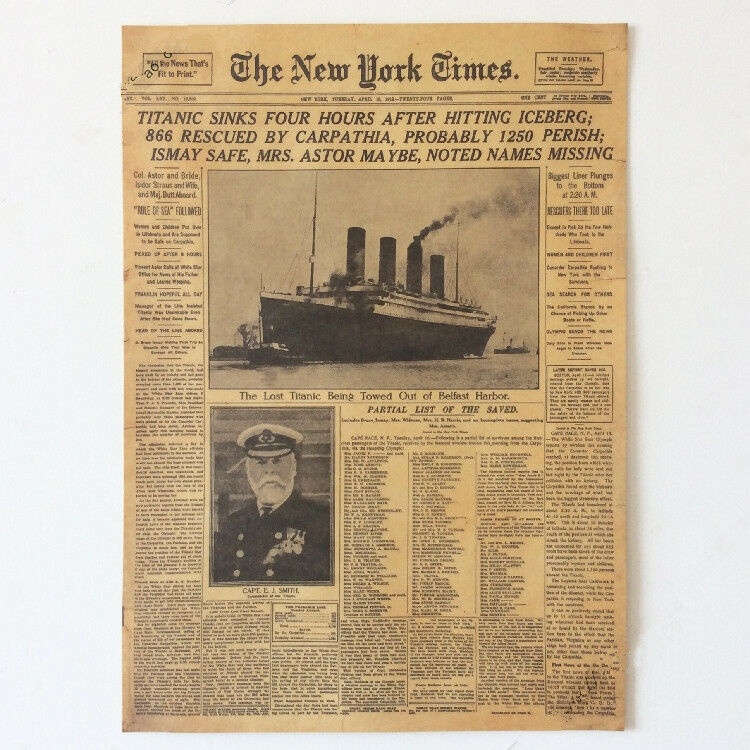 New York Times RMS Titanic Shipwreck Old Newspapers Kraft ...