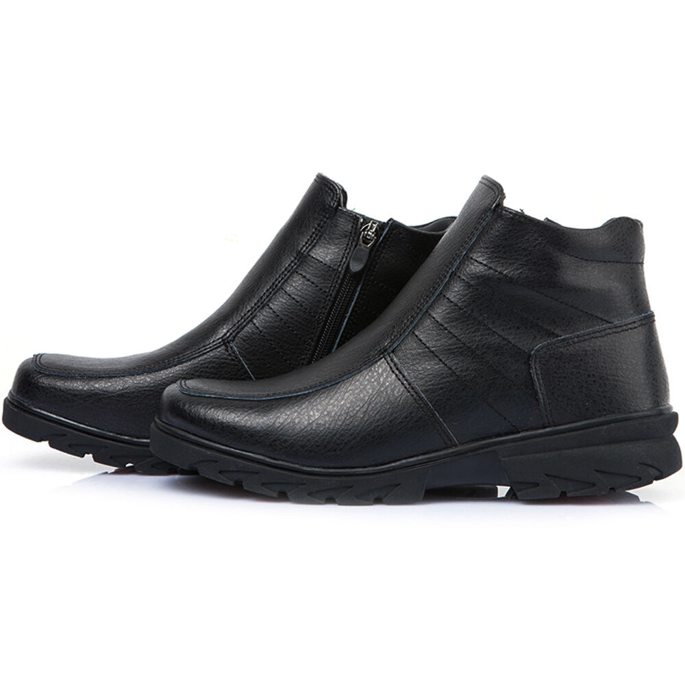 Black Leather Comfort Shoes For Winter