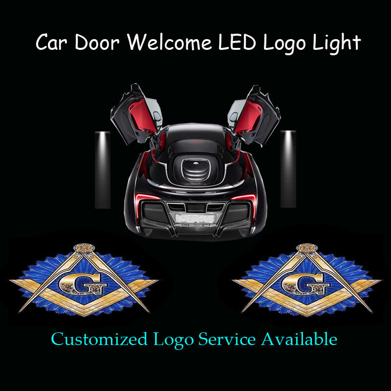 2x free and accepted masons logo car door laser projector. Black Bedroom Furniture Sets. Home Design Ideas
