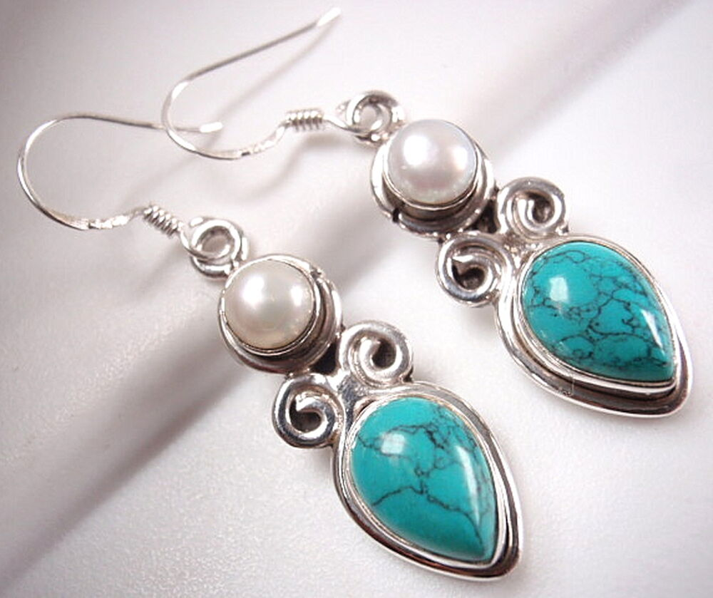 turquoise and pearl earrings 925 sterling silver dangle. Black Bedroom Furniture Sets. Home Design Ideas