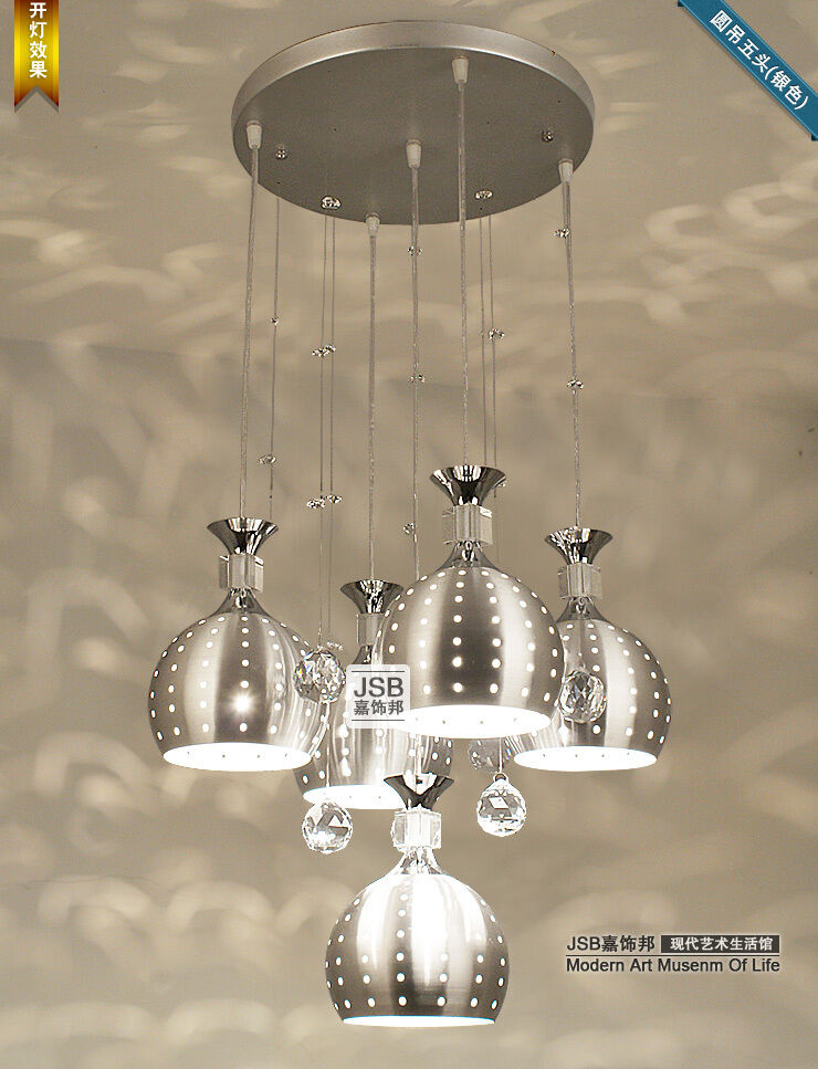 New Crystal Silver Lamp Shade Ceiling Pendant Light