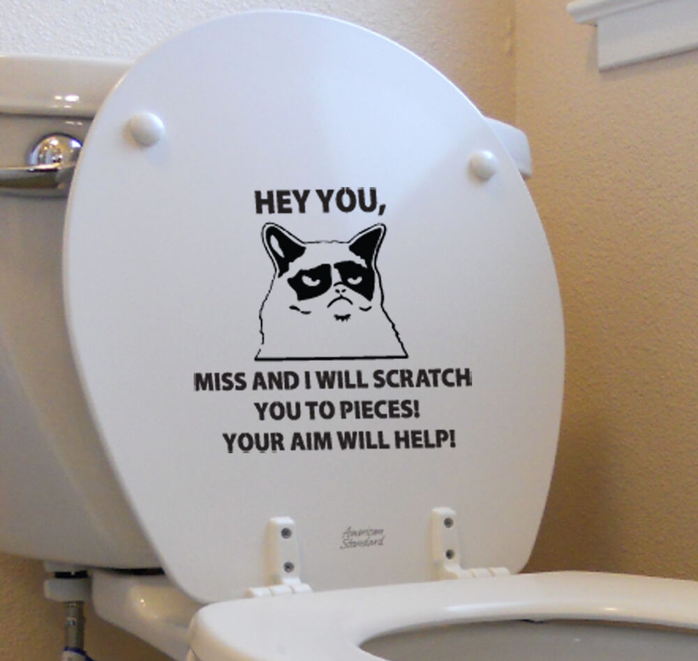 Grumpy Cat Funny Sticker Toilet Decal Flip Off Middle