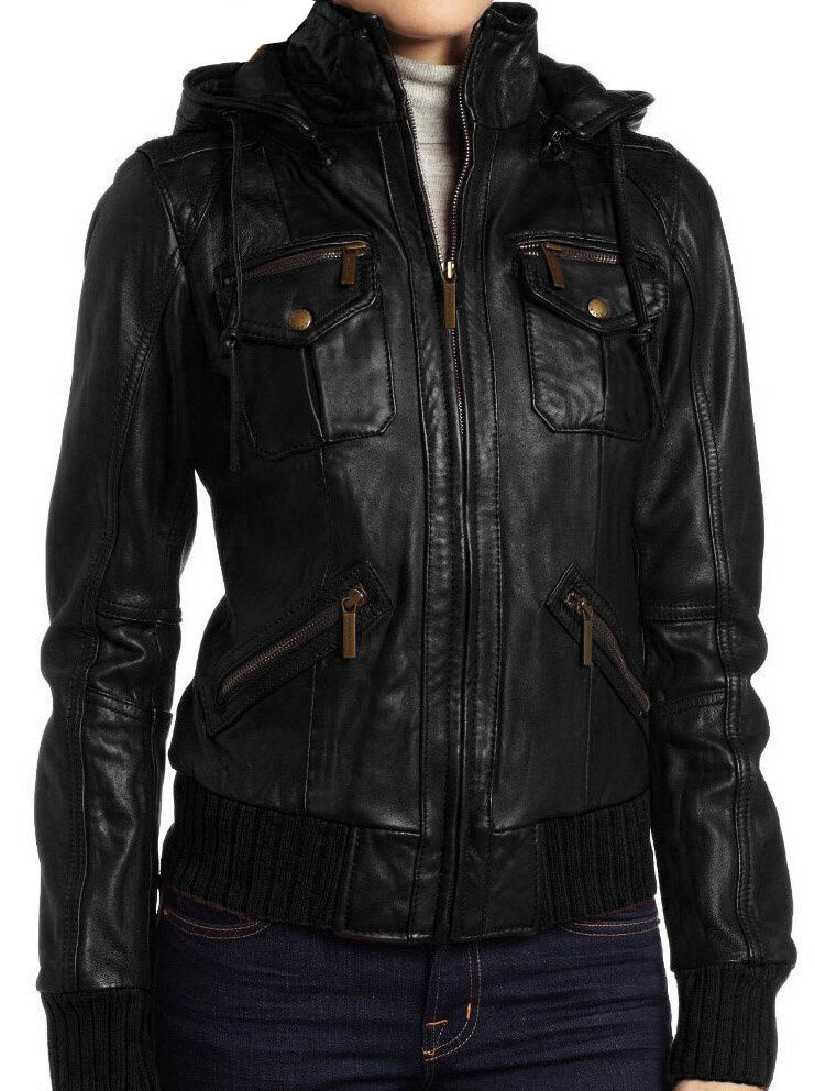Women's Lambskin Detachable Hooded Leather Bomber Jacket | eBay