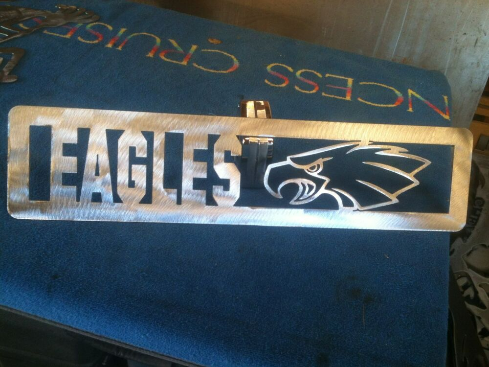 Plasma cut eagles plaque metal sign mancave wall decor ebay for I sign decoration