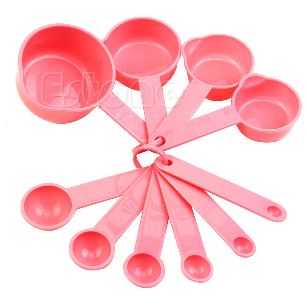 For baking coffee pink plastic measuring spoons cups for 6 tablespoons to cups