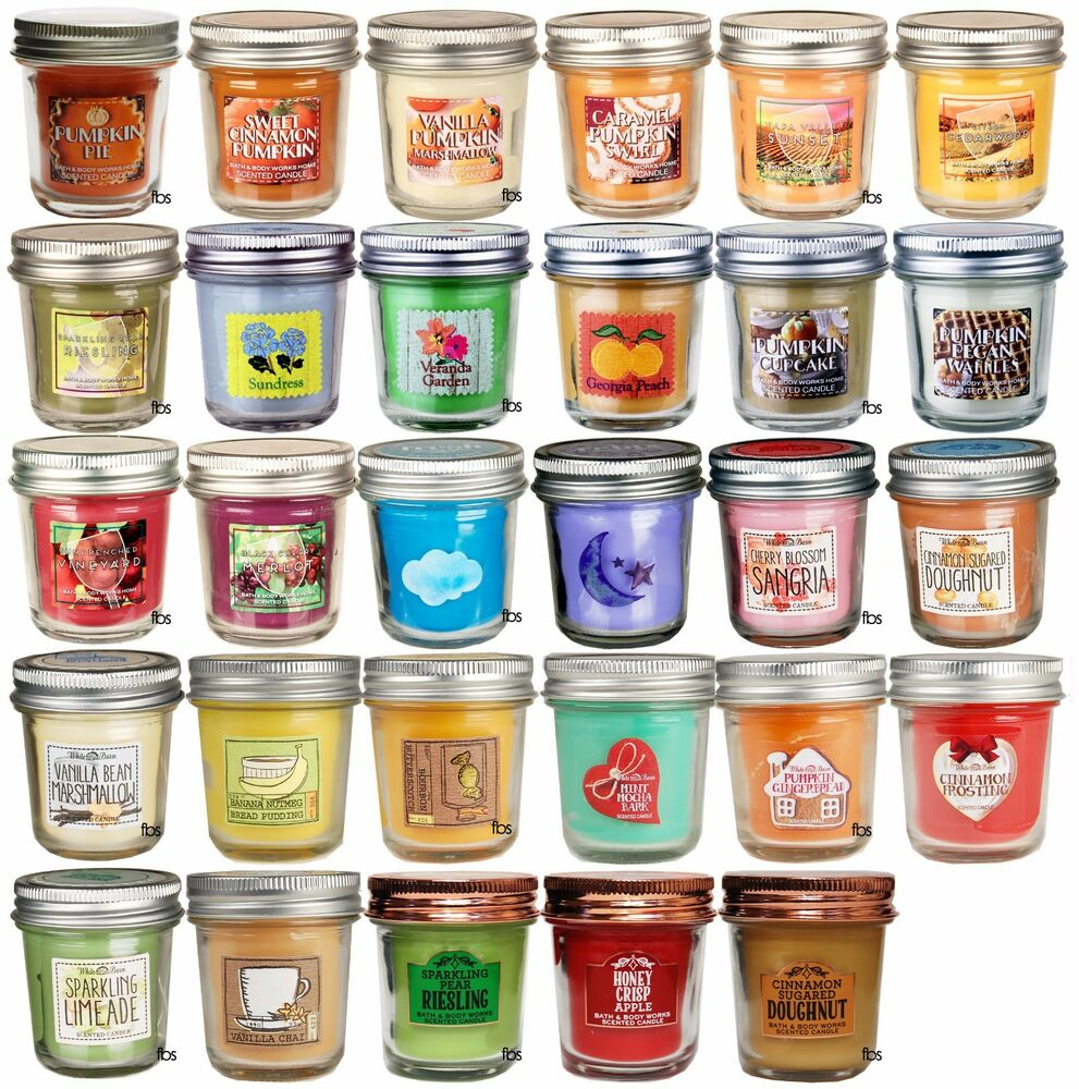 bath body works white barn mini scented candle 1 3 oz mason jars pick scent ebay. Black Bedroom Furniture Sets. Home Design Ideas