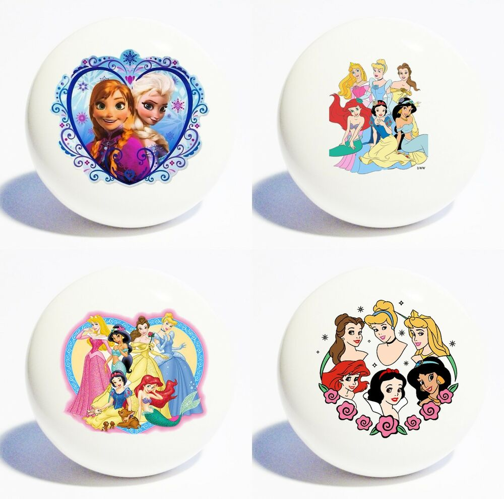 Four Disney Princesses White Decor Ceramic Kitchen Knobs