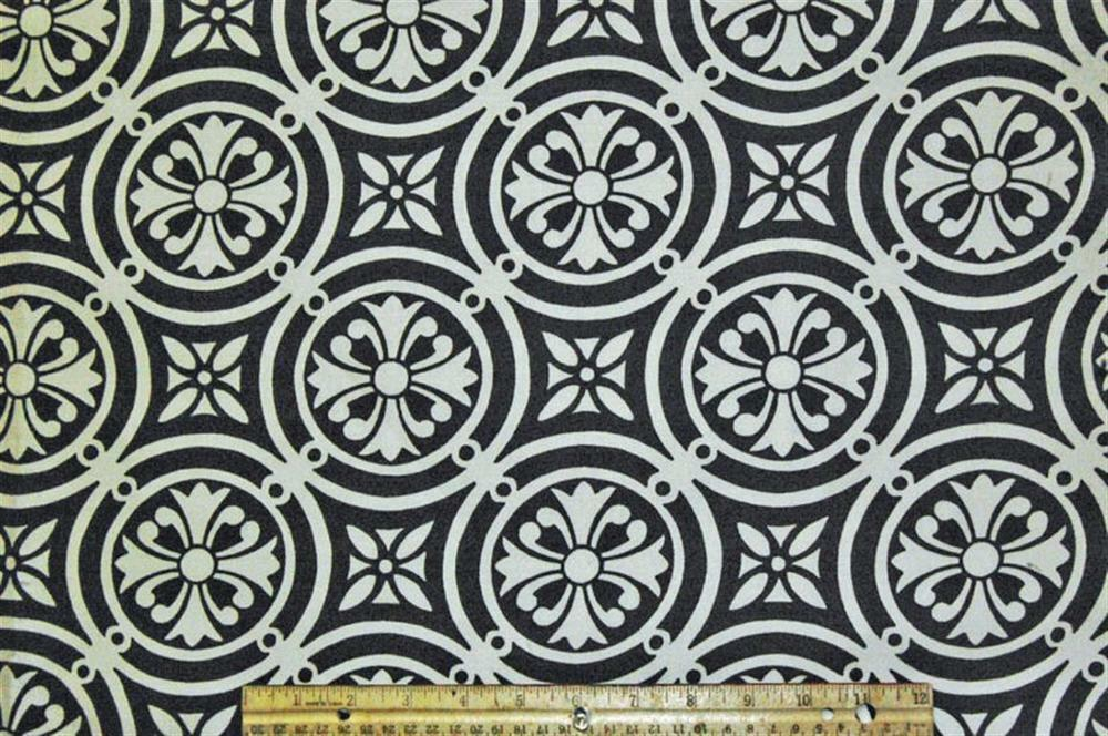 Home Decor Upholstery Fabric Minton Domino Black White/off