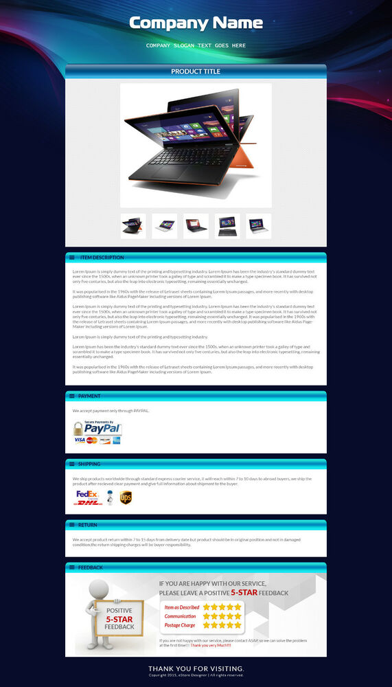 Unique ebay auction listing template html listing page for Free ebay templates html download