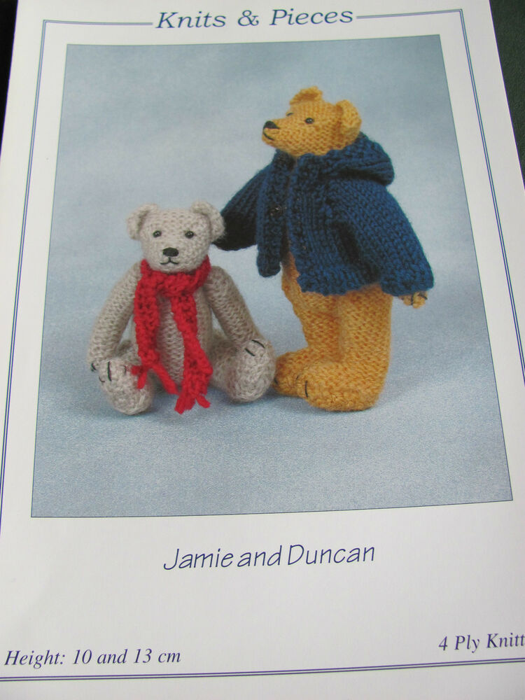 Knitting pattern for Teddy bears 10 and 13 cm tall in 4 ...