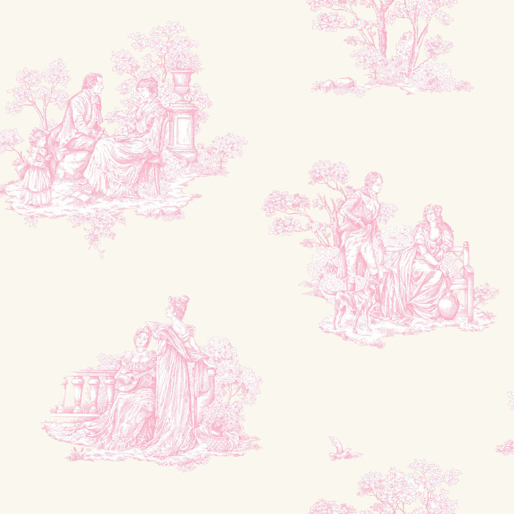 Amour traditional pink toile de jouy wallpaper 204216 ebay - Papel pintado toile de jouy ...