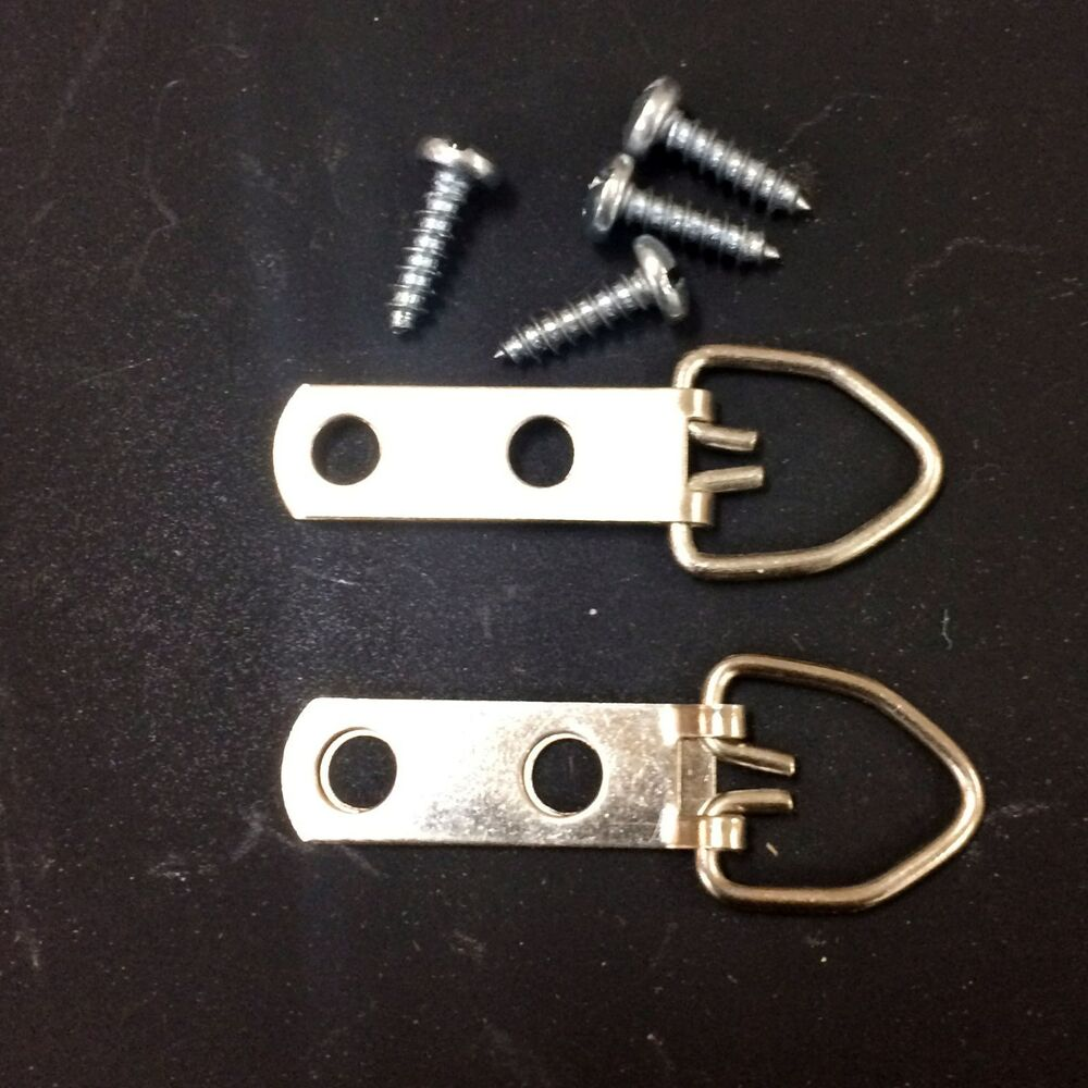 Two D Ring Picture Hangers Double Screw Holes Comes With 4