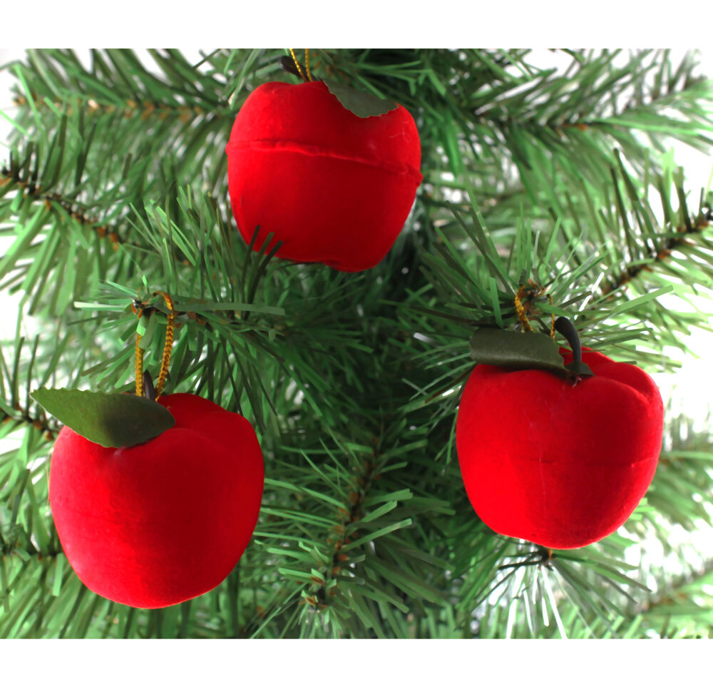 6x christmas red apple christmas tree party decorations for Apple tree decoration