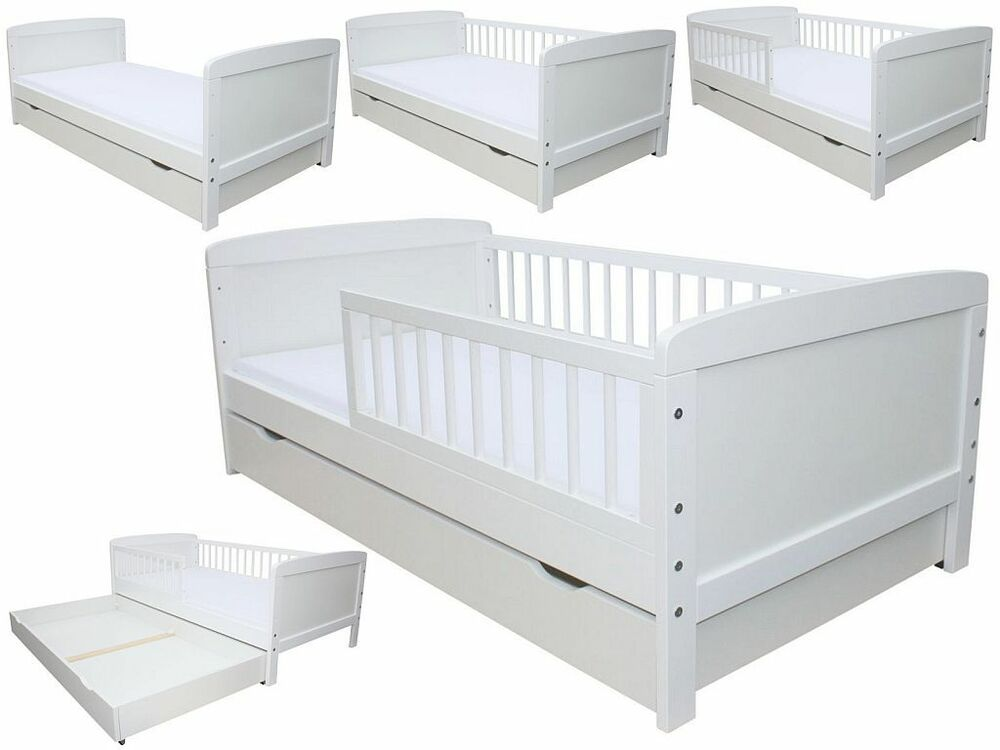 kinderbett juniorbett 160 x 70 cm incl schaumstoffmatratze schublade weiss ebay. Black Bedroom Furniture Sets. Home Design Ideas