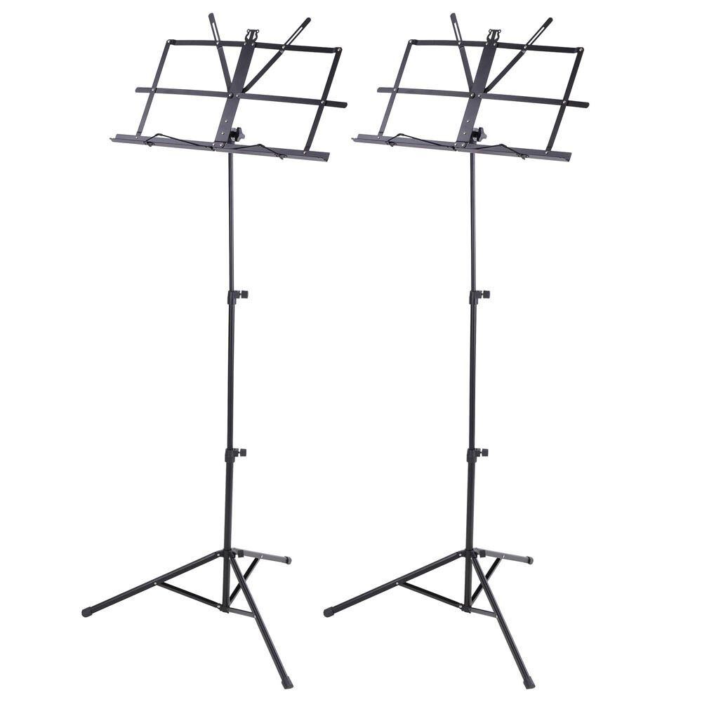 2 pack folding sheet music stand score note holder mount tripod carrying gig bag ebay. Black Bedroom Furniture Sets. Home Design Ideas