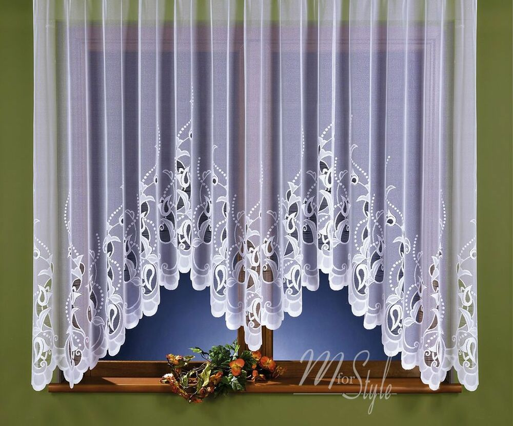Jardiniere Net Curtain White Slot Top Ready Made Window