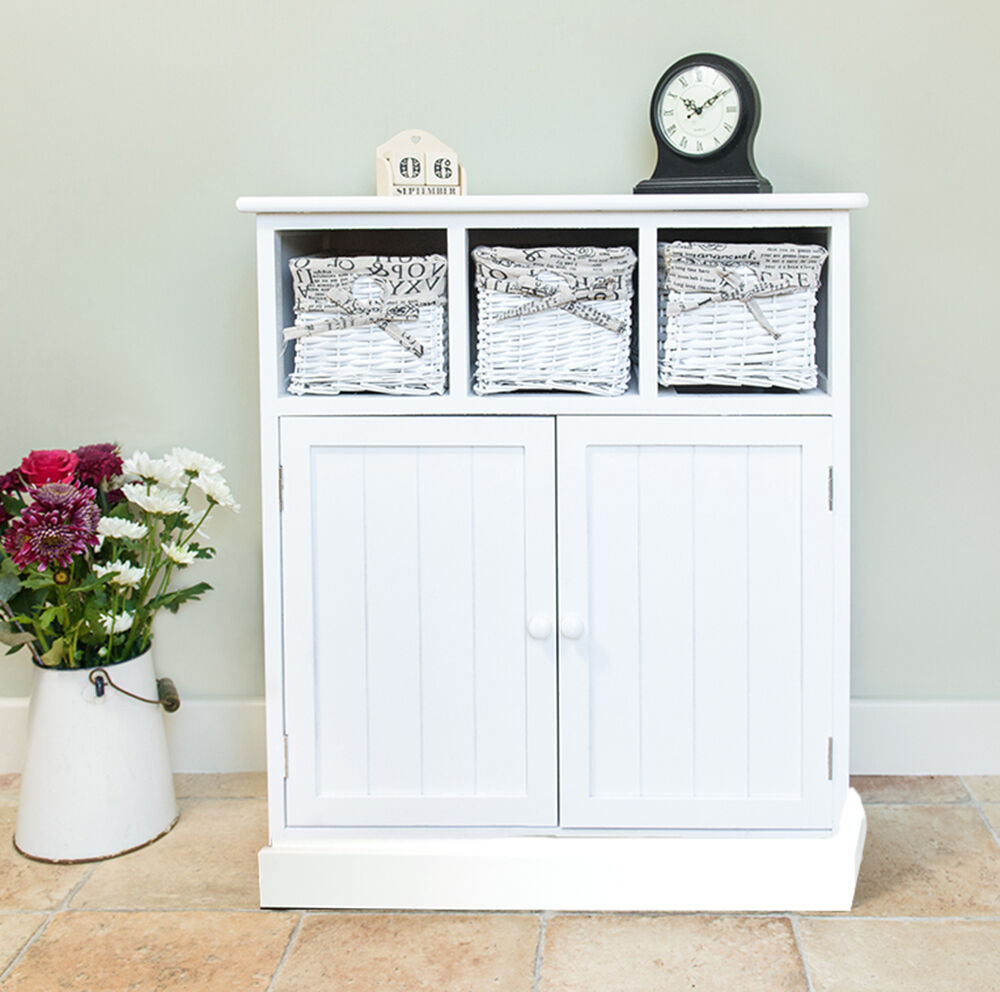 new shabby chic white 2 door 3 drawer wicker sideboard storage cupboard ebay. Black Bedroom Furniture Sets. Home Design Ideas