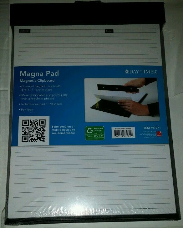 """... Magnetic Clipboard With 8.5 x 11"""" Lined Paper 8-1/2 x 11 New 
