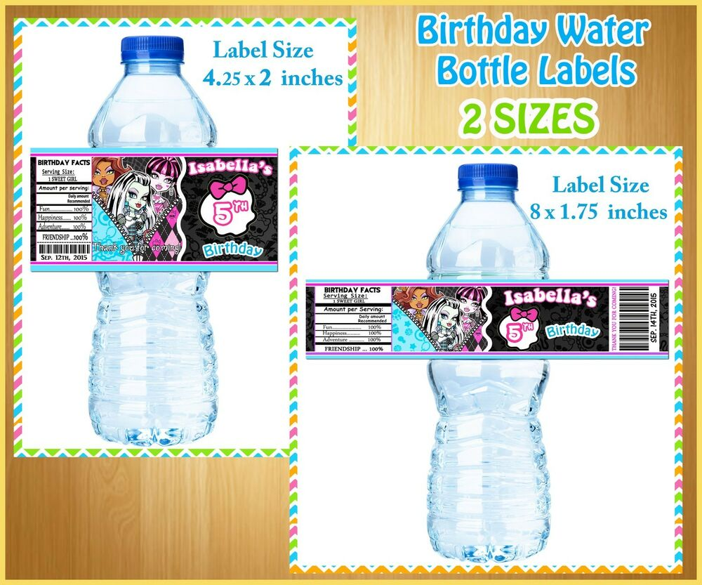 20 custom monster high water bottle labels birthday party for Buy water bottle labels