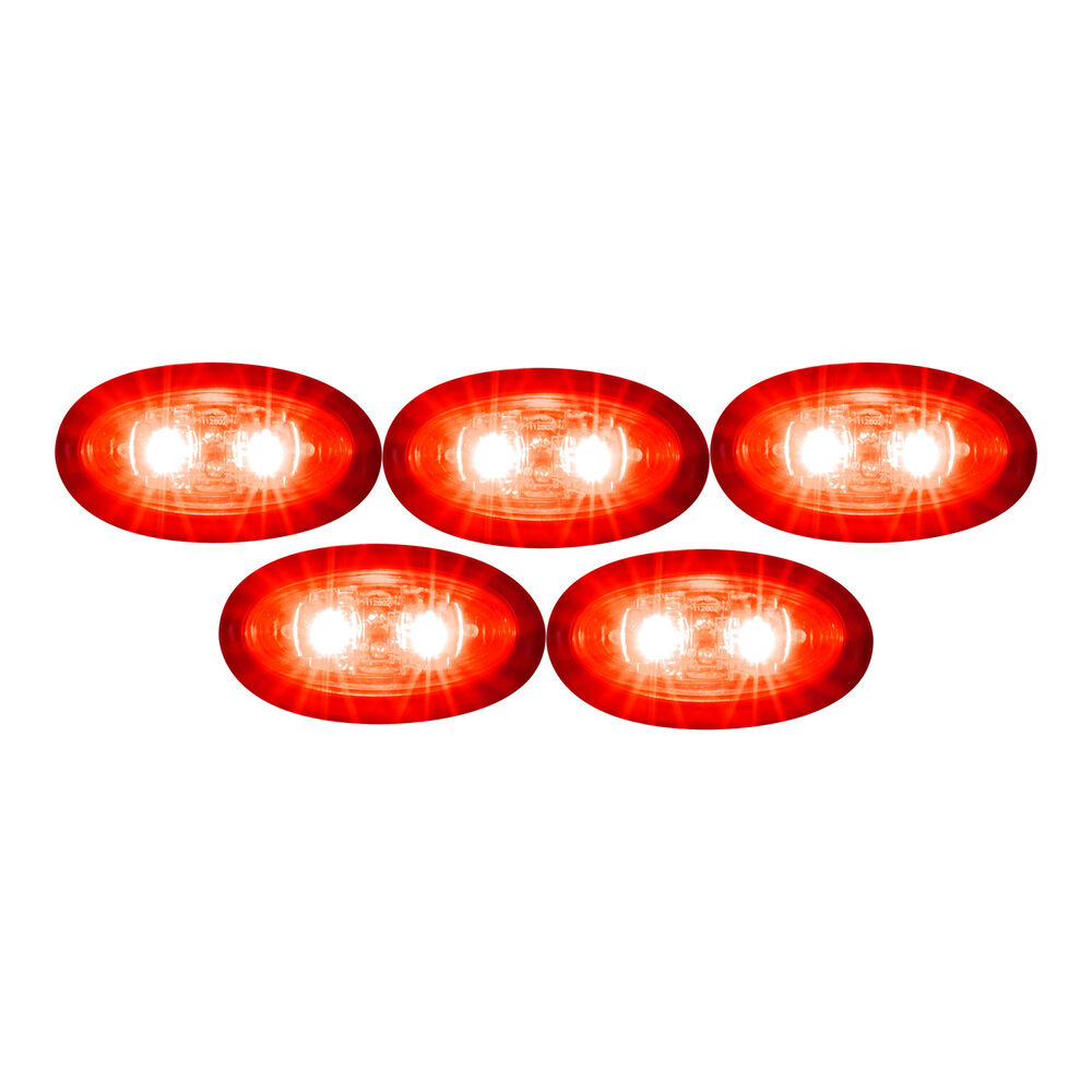 5 Clear Red Led Mini Oval Bullet 3 4 Quot Clearance Marker