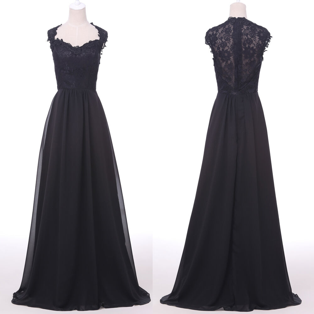 Formal Gowns: VINTAGE BLACK Lace Evening Party Dress Semi Formal Long