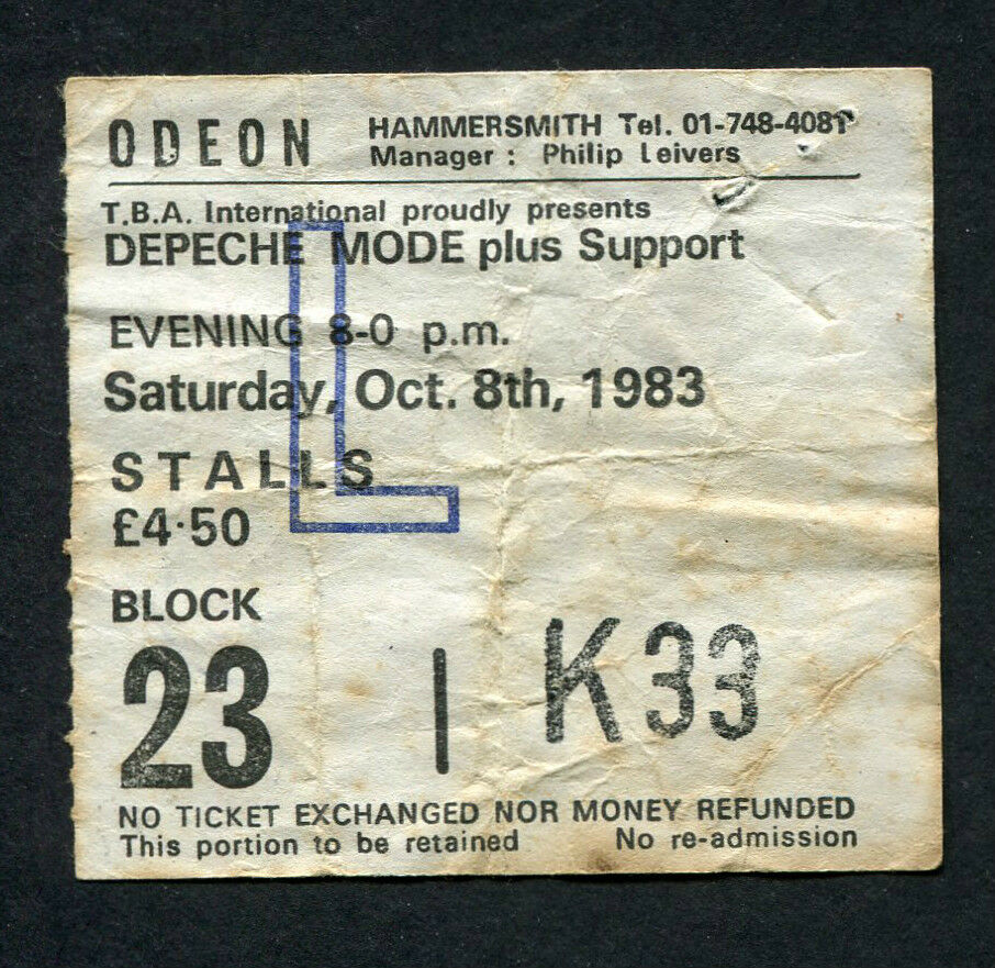 1983 depeche mode concert ticket stub odeon hammersmith uk. Black Bedroom Furniture Sets. Home Design Ideas