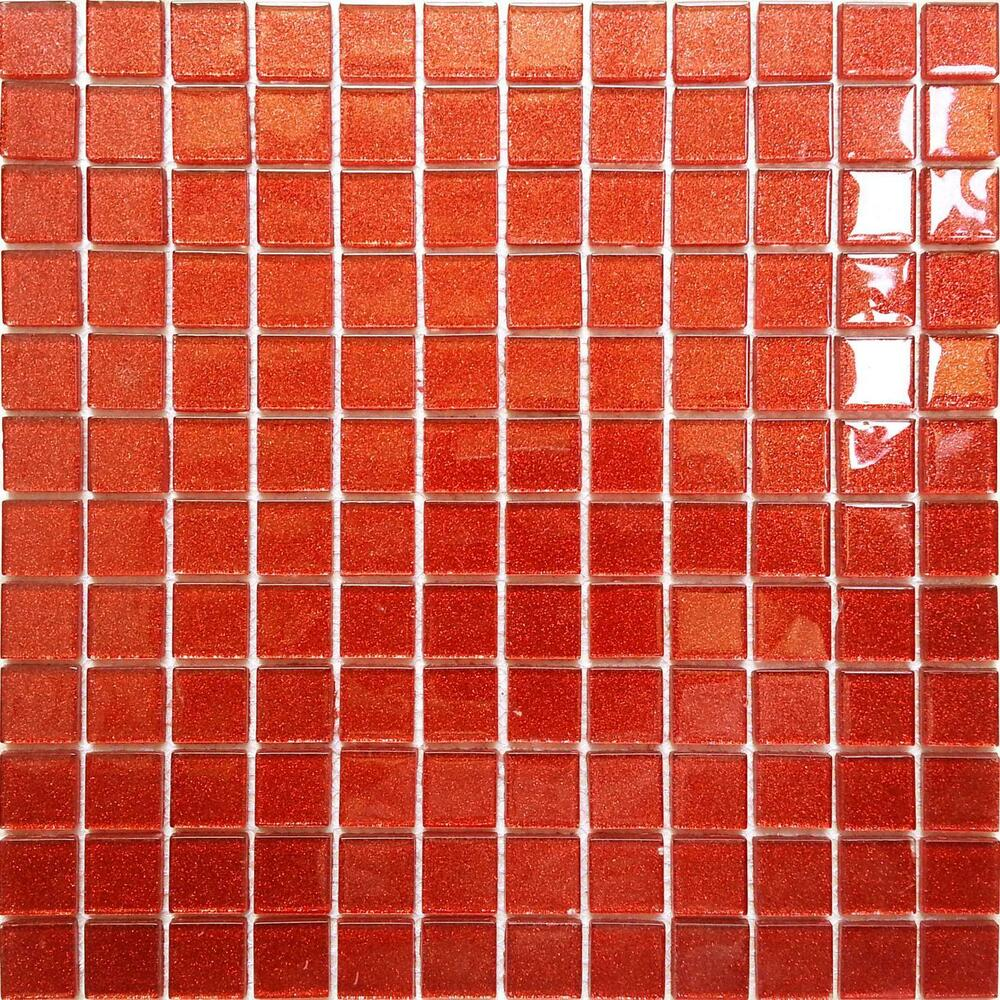 Glitter Red Orange Glass Feature Walls Bathroom