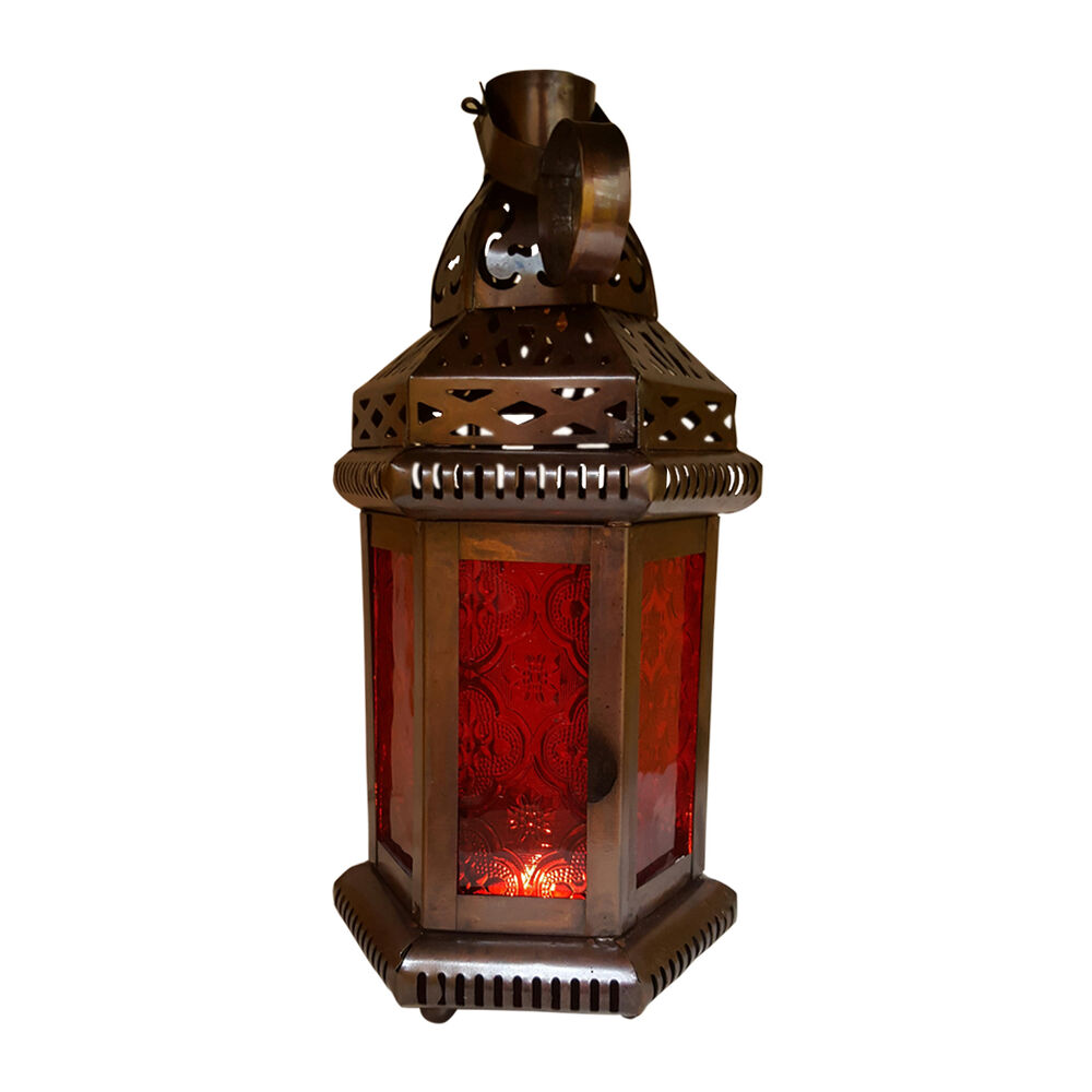 Outdoor String Lights Holders : Red Glass Moroccan-style Hanging Lantern, TeaLight Candle Holder, Home Decors eBay