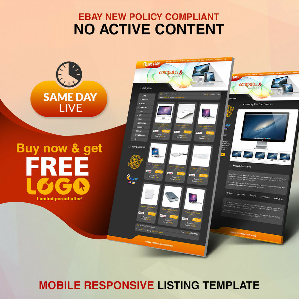 Ebay shop design and listing auction html templates free setup same day live ebay for Free ebay store templates