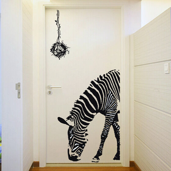 Zebra wall sticker vinyl decal animal wallpaper home art for Zebra decorations for home