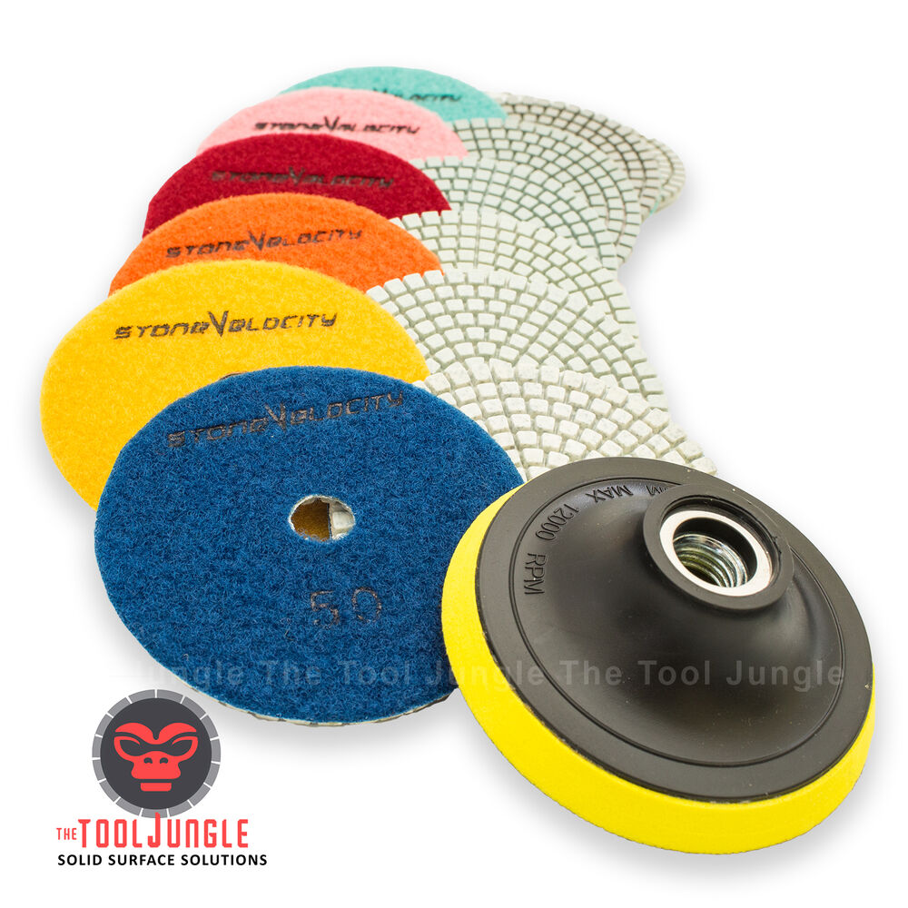 Wet Dry Diamond Polishing Pads 4 Inch Set Kit Granite
