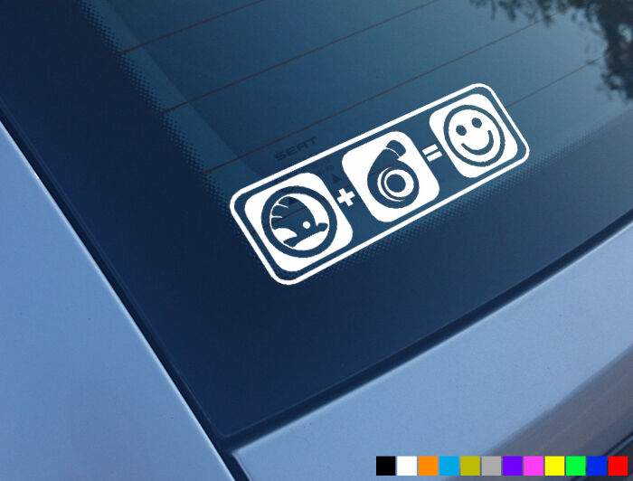 Skoda Plus Boost Equals Smiles Car Sticker Decal Funny
