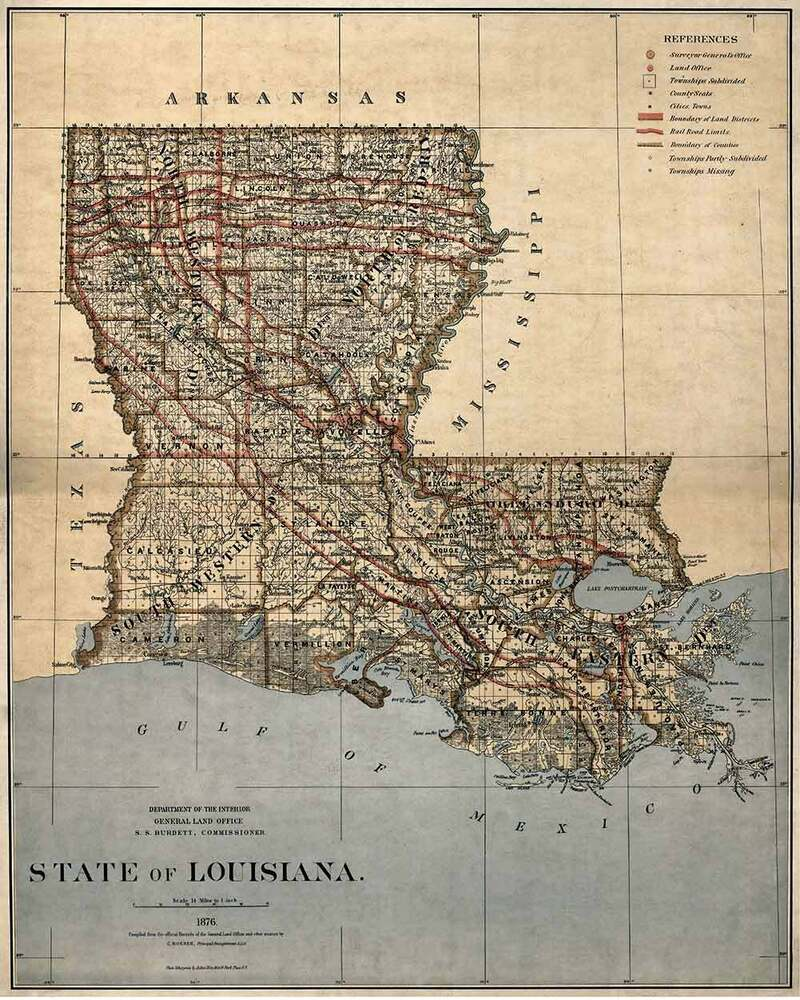 United States MAP Of LOUISIANA New Orleans Circa 1876