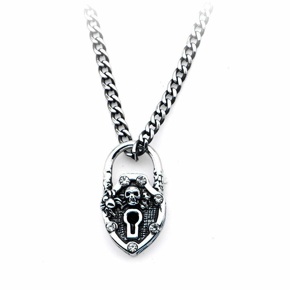 inox women 39 s goth stainless steel skull bling lock pendant. Black Bedroom Furniture Sets. Home Design Ideas