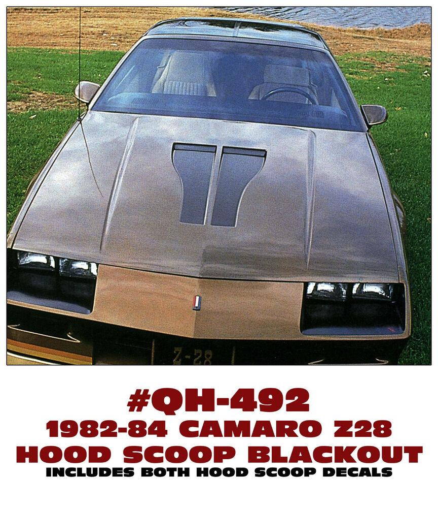 Chevy Blackout Truck >> QH-492 1982-84 CHEVY CAMARO - Z28 HOOD SCOOP BLACKOUT DECAL KIT - HOOD INSERTS | eBay